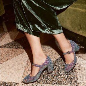 Madewell Zelda Glitter Mary Jane Heels